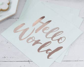 Hello World Napkins   Mint & Rose Gold Baby Shower Napkins   New Born Party   Baby Shower Tableware   Baby Shower Decorations   Rose Gold