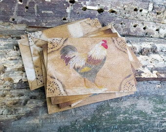 Rooster country gift fabric envelope folk art New Year handmade envelopes old letter rustic style primitive decor vintage