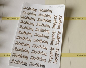 Foiled Birthday Shaped Text Stickers