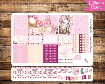 E Planner Beautiful Easter Bunny Weekly Stickers {#24}