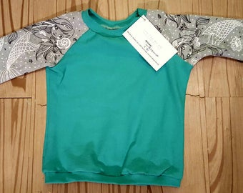 Mint and grey mermaid size 12 to 18 month long sleeve raglan baseball shirt baby shower gift kids clothing