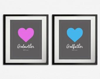 Godparent Print Set, Gifts for Godparents, Godparent Gift, Godfather & Godmother Art, Personalized, Custom Gift from Godchild, Established