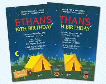 Digital Printable Camping Birthday Invitation. Campfire Birthday. Girl Birthday. Boy Birthday