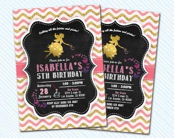 Digital Printable Fairies Birthday Invitation. Fairies and Pixies invite. Girl Birthday