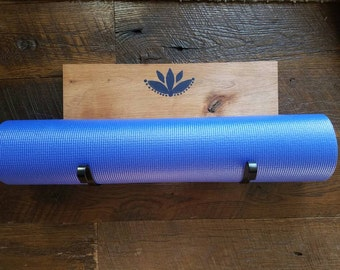 Yoga Mat Holder for Wall - Navy Lotus Flower and Dots with 2 Curved Black Hooks on Alder - Exercise Mat Holder - Home Gym Storage