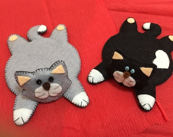 handmade felt cat coasters