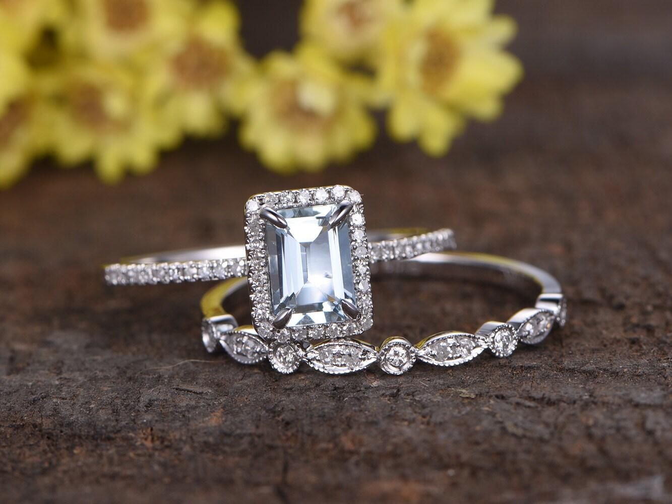 1ctw 5x7mm Emerald Cut VS Aquamarine Engagement Ring Set