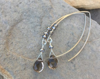 Smoky quartz long dangle earrings.