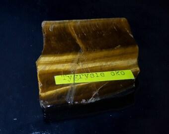 Polished tiger eye slab, mineral collection specimen