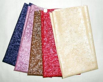 "Fairy Frost Fat Quarter 5pc. ""Valentine Bundle-Pink/Purple/Brown/Red/Cream"" (Michael Miller Blackberry/Purple/Sepia/Scarlet/Champagne) #O170"