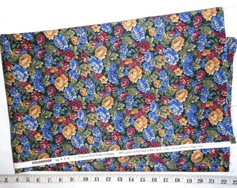 Fabric -1 yd piece - Rose Floral/packed flowers/blue/burgandy/purple/beige/gold/green/leaves   (#yd066) -Colorshop by VIP/ranston