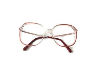 Vintage 80s Eyeglasses, Eyewear, Retro Frames, Vintage Eyewear, Oversized Glasses Round Glasses, Indie Hipster Glasses Fade Out Pink, Univis