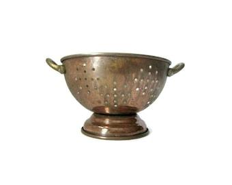 Vintage Copper Colander, Farmhouse Decor, Country Kitchen, Copper Strainer, Vintage Kitchen Rustic Kitchen Farm House, Small Colander, Brass