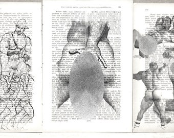 Erotic Gay poster  / Muscle mens buttock / nude brutal mens  / 3 pages Printing Antique  book  decor interior picture ART erotic souvenir