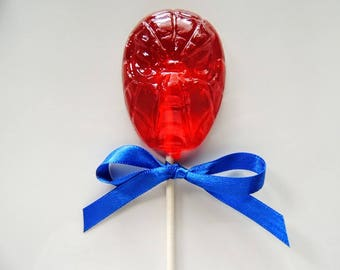 10 Spiderman Lollipops the Amazing Spiderman Super Hero Birthday Marvel Comics Spider Web Party Favors Candy