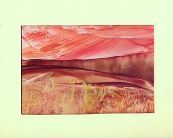 Brown River: Unique and Original Encaustic Wax Painting