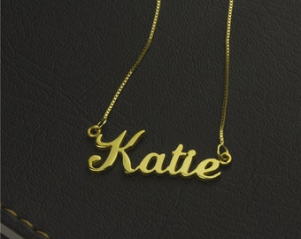 Personalized Gold Name Necklace, Custom Name Necklace, Birthday Gift, Name Plate Necklace, Nameplate Necklace, Personalized Necklace
