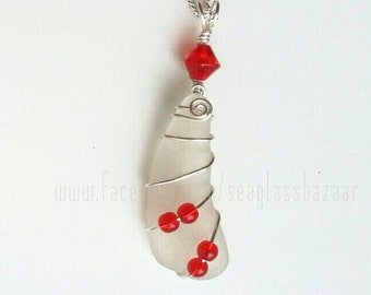 Sea Glass Necklace pendant with red Beads. Gift Silver plated necklace Pendant