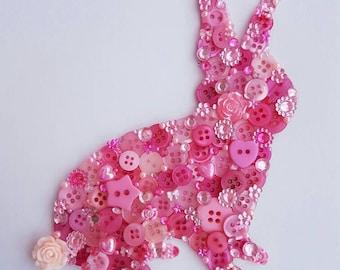 Rabbit/Bunny Silhouette Canvas Button Picture Art