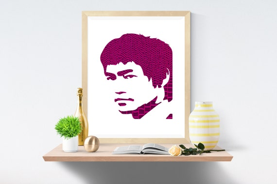 Bruce Lee, Purple, Purple Print, Purple Prints, White Print, White Prints, Wall Art, Art Print, Printable Art, Wall Prints, Modern Art