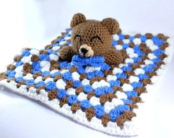 Crocheted Bear Snuggle blanket - Security Blanket - Lovey- Baby - Toddler - Baby shower - Nursery