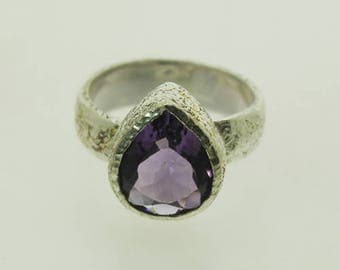 Natural Amethyst Ring, 925 Solid Sterling Silver Ring, Contemporary, Ring Size 7.5 US, R010