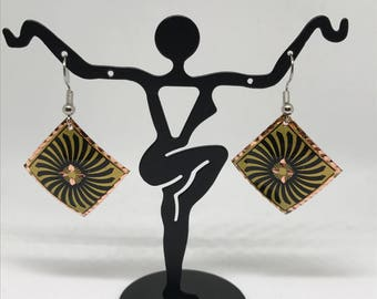 Turkish Copper Earrings- diamond with geometric pattern