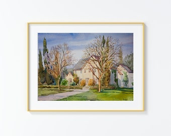 Original Watercolor Painting,Watercolor Painting,landscape,San Antonio, East Contour Drive