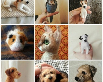 Needle felted pet portraits