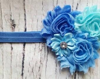 Blue Heart Shape Headband/Baby Girl Headband/Blue Headband/Floral Headband/Shabby Chic Headband/Infant Headband/Headband