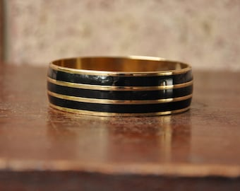 Vintage Gold Black Enamel Bangle Bracelet, 3 Stripes Striped Jewelry Gift, Simple Clean Lines Chunky Cuff
