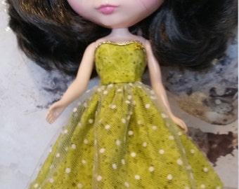 Blythe Dress – Green Spot – Handmade