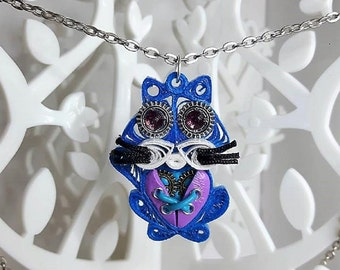 Blue and pink cat in fimo quilling steampunk necklace