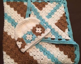 Blue, brown and white baby blanket and matching baby hat
