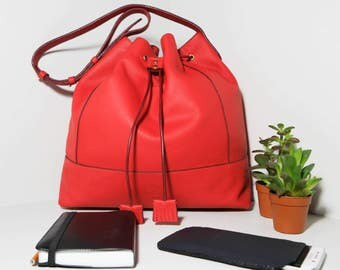 Bag Tote Aelig CR17 red cowhide leather.
