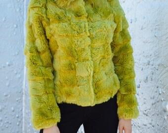 Club Kid Green Rabbit Fur Coat.Size M-L. 90's