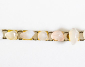 Jewelry Rock Bracelet. Vintage Gold Toned with Stone