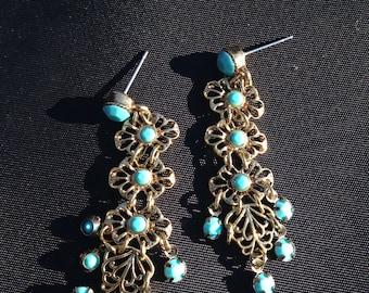 Turquoise faux gems vintage gold drop pierced earrings filigree