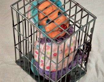 """9"""" x 6"""" x 5"""" Caged Baby Doll, Ball Gag Doll, Morbid Doll, OOAK Doll, Strange Doll, Grotesque Doll, Weird Doll, Pacified Doll"""