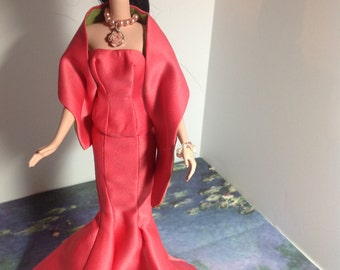 Silkstone Barbie satin lined Opera Gown with wrap, heels and gloves