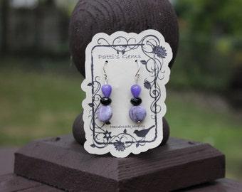 Purple Charoite, Purple Jade & Black Onyx SS Earrings