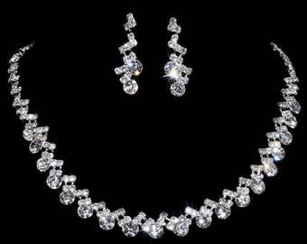 Silver Rhinestone Wedding Engagement Necklace Earrings Set Jewelry Hot Sale