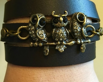 Steampunk Owl Leather Bracelet