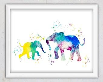 Elephants Print, Elephants Mom and Baby Printable Art Nursery, Safari Print, Kids Instant Download Watercolor Print, Animal Wall Print, Baby