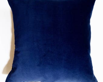 Navy velvet cushion | feather | by Olive Jennings Furniture