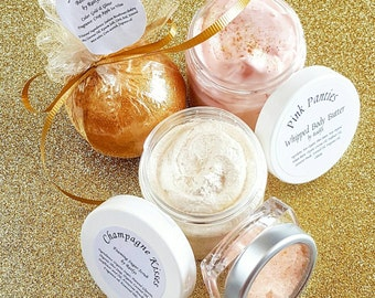 Gold Spa Gift Set, Bath and Body Gift Set, Bath Bomb, Lip Scrub, Whipped Body Butter, Foaming Sugar Scrub, Bridesmaid Gift, Gift for Her