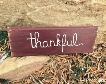 Thankful Wood Sign  handmade  Fall decor