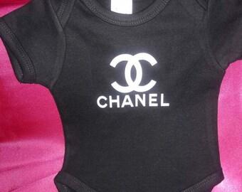 Chanel Inspired Onesie, Chanel, Fashionista, Birthday outfit, Louis Vuitton, Kids, Custom Onesie, Designer Baby , Color Onesie, baby shower