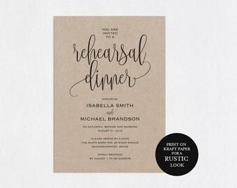 Rehearsal Dinner Invitation Template Printable Modern Templates Wedding