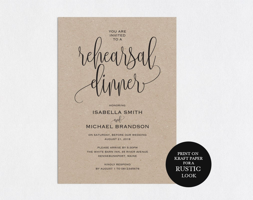 It is a picture of Monster Printable Rehearsal Dinner Invitations